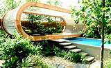 Modern Ekterior Garden with Unique Cocoon Building Innovation Design
