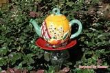 whimsical teapot garden stake repurposed yard art