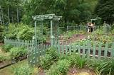 Vegetable garden with a green picket fence traditional-landscape