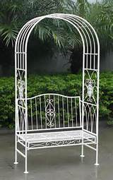 ... Products » Bentley Garden Wrought Iron 2 Seater White Bench with Arch