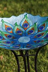 ... GLASS BIRD BATH GARDEN LAWN YARD DECOR BOWL OUTDOOR PATIO UNIQUE ART