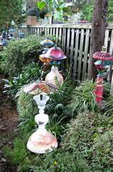 Whimsical garden lamps and bird feeders