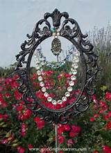 Whimsical garden art Beaded sun catcher recycling a mirror frame. I ...