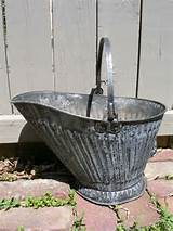 primitive galvanized rustic metal coal ash bucket great garden decor