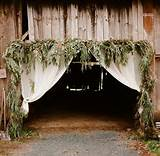 102136 - Decor | Brown | rustic entry drapes garland barn outdoor ...