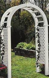 Large white resin garden arch.