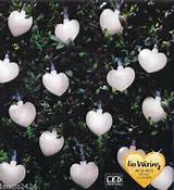 details about 20 solar powered white heart string garden lights