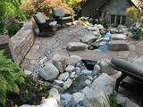 Before and After – Patio with Stone River and Curved Stone Wall ...