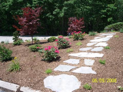colonial garden path natural stone walkway