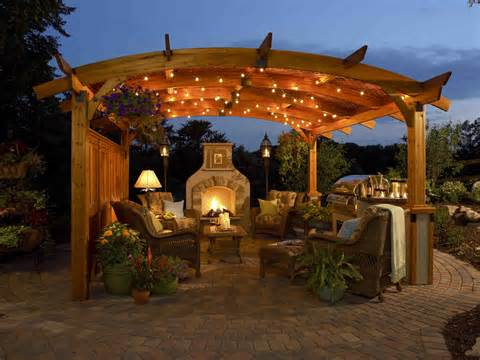 romantic and cozy atmosphere under a pergola i love the string of