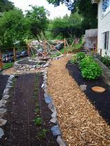 The path divides the garden into edibles and ornamentals based on the ...