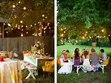 this relaxed picnic style wedding reception set under a huge tree