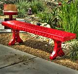 ... Red Outdoor Bench Snapshot Inspiration : Exterior Design Ideas