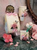Plastic Canvas - Botanical Display - Floral Bath Set