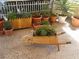 handmade wooden wheelbarrow planter box