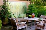 Seating area in colors that blend well with green makes for a useful ...