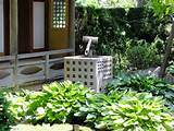 ... japanese garden design ideas with small fish pool and classic lights