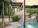 poolside refresher these sleek standalone showers provide a quick head ...