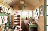 inside cottage style garden shed used as bonus room with drying racks
