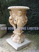 large plant pots garden decorations ideas angel carving outdoor flower ...