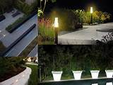 Strip lights flower pots LED lighting modern garden lighting ideas