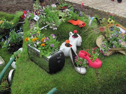 ideas for creating fun and quirky recycled planters in the garden for