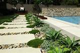 lined stepping stones in a modern garden