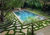 jardin de déco intéressante avec piscine
