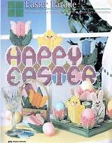 PLASTIC CANVAS MAGAZINE 37 *EASTER SIGN, BUNNY BASKET, TULIP COASTERS ...