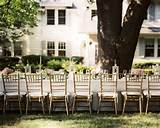 Gold Chairs - An outdoor dinner party with an elegant table and gold ...