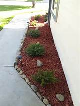 ... Inspiration Ideas, Heather Shrubs, Curb Appeal, Red Mulch, Yards Ideas