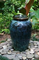 Water garden in large glazed pot with view of top-1