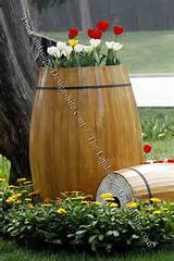 Wood Barrel Container Garden Planter
