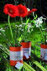 painted fabric tin can craft ideas garden diy flower vases decoration