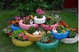 tire flower pots school garden ideas pinterest