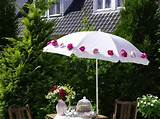 gardening flower pots decoration ideas with white umbrella