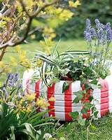 diy garden decoration tire planter red white stripes