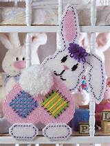 plastic canvas spring patchwork bunny