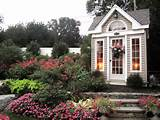 neutral garden shed in pink flower garden with stone steps hgtv fan ...