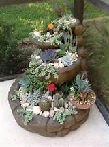 cactus garden stacked patio stones and matching planters