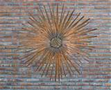 Outdoor: Gorgeous Metal Sunbirst Outdoor Wall Art Brick Wall, stunning ...