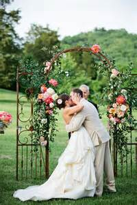 Pink Peach and White Rustic Country Garden Wedding Alter