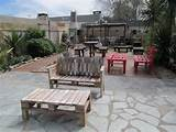 pallet furniture ideas backyard patio table benches stone floor garden