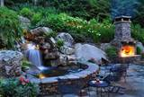 backyard waterfall waterfall lightingpond and waterfallgreenleaf