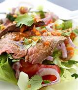 roast beef salad with tomatoes cucumber and fresh herbs