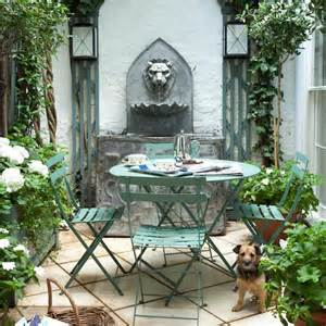 small patio garden with water feature traditional garden design
