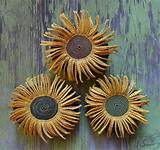 sunflower mixed media crochet flower stone