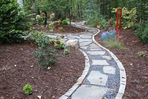 walkways of flagstone are bedded in crushed rock. The natural stone ...