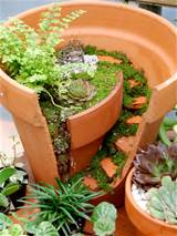 related reference for broken clay pot fairy garden ideas