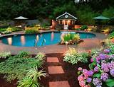 ... Outdoor landscape lighting ideas around pool with flower and garden